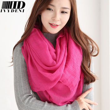 2016 New Popular Scarf Solid Color Womens Scarfs Fashionable Cozy Cotton Long Voile Scarf Warm Winter Scarf Adult Hooded Blanket
