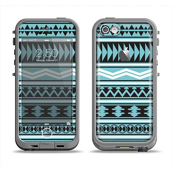 The Vector Blue & Black Aztec Pattern V2 Apple iPhone 5c LifeProof Fre Case Skin Set