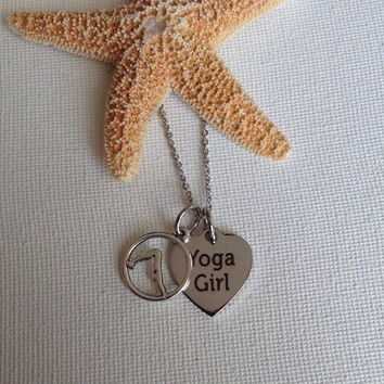 Yoga girl necklace, yoga, working out, fitness, fitness fanatics, yoga gifts, gifts for yoga enthusiasts.
