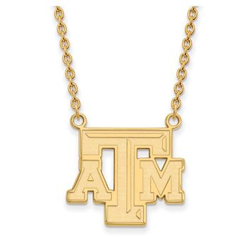 NCAA 14k Yellow Gold Texas A&M U Large Pendant Necklace