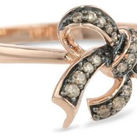 10k Rose Gold Brown Diamond Bow Ring ( .14 cttw, H-I Color, I2-I3 Clarity)