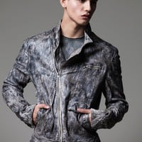 m-ojo Risin' – Hand Painted Cement Grey Perfecto Biker Jacket | the Archive