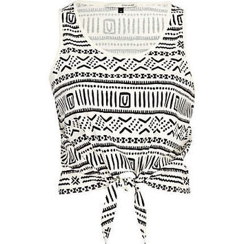 Cream aztec print tie front crop tank top