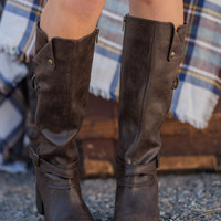 Head Over Boots Buckle Detailed Ridding Boots (Brown)