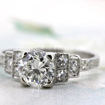 Art Deco Engagement Ring | 1920s Engraved Ring | Antique Platinum Ring | Vintage Diamond Wedding Ring | Edwardian Ring | Size 4.25