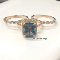 Emerald Cut London Blue Topaz Engagement Ring Trio Sets Pave Diamond Wedding 14K Rose Gold 8x10mm
