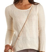 Ribbed & Cable Knit Pullover Sweater by Charlotte Russe - Ivory
