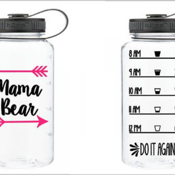 Mama Bear Custom 32 oz Water Bottle - Daily Motivation - Funny - Cute - Girly - Workout - Motivation - Fitness - Exercise - Water Tracker -