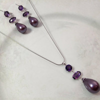 Cultured Pearl Jewelry Set with Lavender Pearls, Amethysts, and Sterling Silver