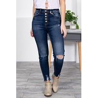 Raven 5-Button Distressed Skinny Jeans