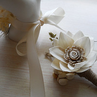 Sola Flower Wedding Boutonniere, Made to Order.