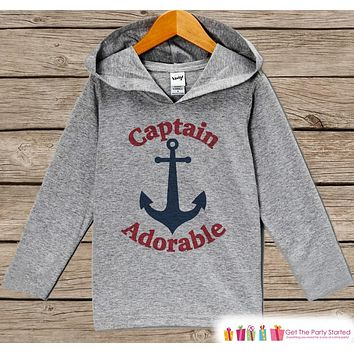 Kids Hoodie - Nautical Pullover Captain Adorable Outfit - Grey Toddler Hoodie - Kids Hoodie - Nautical Shirt - Boys Hoodie Pullover Top