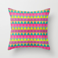 Colored Triangles Throw Pillow by Louise Machado