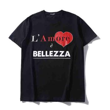 BELLE ZZA new fashion love heart letter print short-sleeved top Black