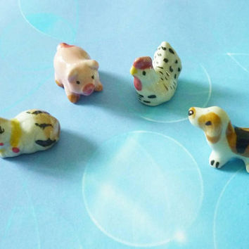 Tiny animal meow pink pig hen dog set 4 pcs. Tiny ceramic animal figurines decor -miniature animal figure -1 12 scale