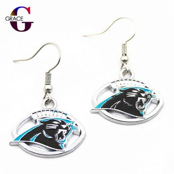 1pair women fashon jewelry Drop Earrings Carolina Panthers logo earrings Football Team Charms Sports fan Alloy Enamel Earrings