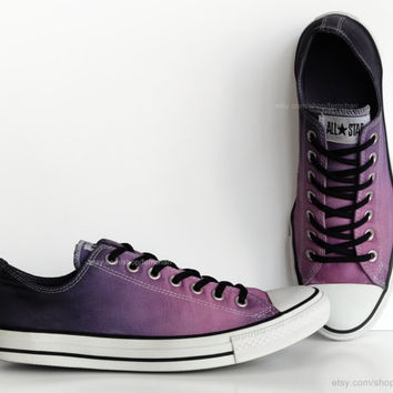 Purple ombré dip dye Converse, All Stars, low tops, upcycled sneakers, transformed vintage shoes, size EU 45 (UK 11, Mens 11, US Wo's 13)