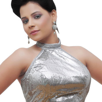 Silver Sequins Party Wear Readymade Sari Blouse X-111