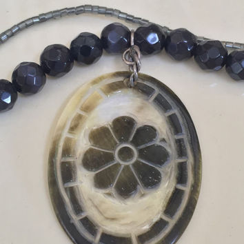 Vintage Double Strand Beaded Necklace, Dark Blue, Flower Pendant, Vintage Jewelry, Vintage Gift, Gift For Her, For Mom, Sister, Friend