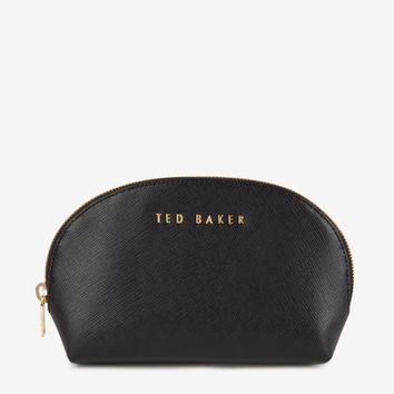 Rounded leather cosmetic bag - Black | Gifts | Ted Baker