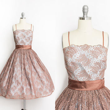 Vintage 1950s Dress - Rust Brown Spider Web Lace Blue Full Skirt Party Cocktail 50s - Small S