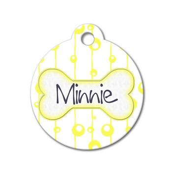 Yellow Bubbles - Pattern Pet Tags