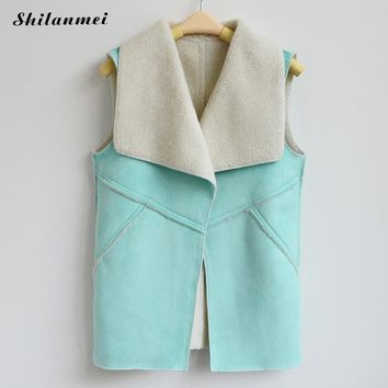 Spring Women Suede Leather Faux Fur Herringbone Vest Jacket Lady Fall Sleeveless Open Front Fake Fleece Wasitcoat