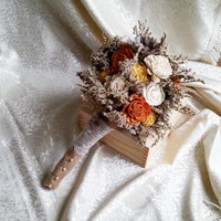 MEDIUM cream ivory brown orange yellow rustic autumn fall wedding BOUQUET sola flowers roses, limonium Burlap Handle, custom