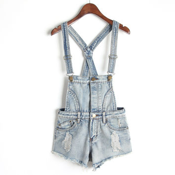 Summer Denim Shorts Slim Romper [6332296452]