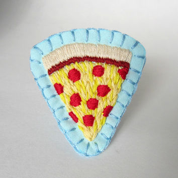 Pizza shaped hand embroidered patch, pin on back