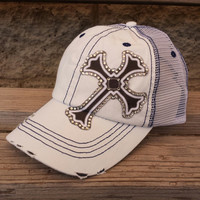 Rhinestone cross trucker hat