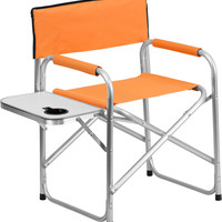 Aluminum Folding Camping Chair with Table and Drink Holder in Orange
