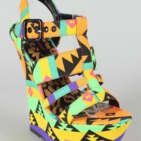 Dollhouse Electric Printed Strappy Open Toe Platform Wedge