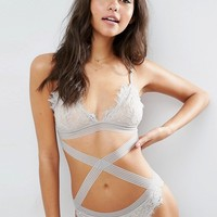 ASOS Florie Eyelash Lace Strappy Body at asos.com