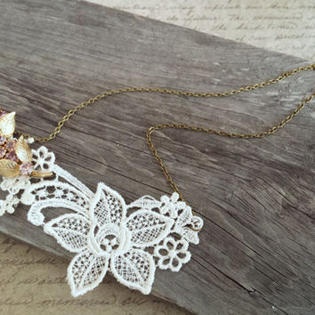 Lace Bib Necklace, Asymmetrical Necklace, Floral Lace Necklace, Nickel Free Necklace, Pink Rhinestone Brooch Necklace, Flower Necklace