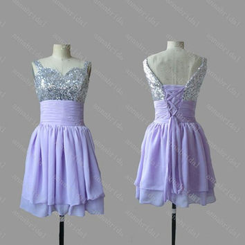 Short Lilac Prom Dresses Spaghetti Silver Sequined Top Chiffon Corset Cheap Homecoming Bridesmaid Party Gowns Under 90 2015 Graduation New