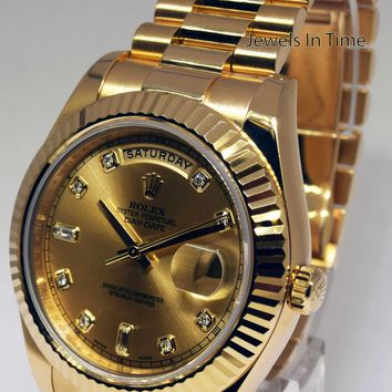 Rolex Day-Date II 18k Yellow Gold Mens Watch Diamond Dial Box/Papers 218238