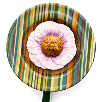 Up-Cycled Garden Art - Striped Plate and Honey Bee - Garden Decor (#200.15)