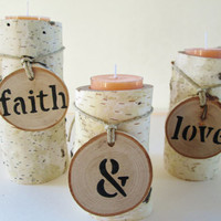 Faith & Love Candle Holders, Birch Wood Candle Holders, Candle Holders, Wood Candle Holder, Log Candle Holder