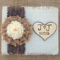 Wedding Guestbook - Burlap Wedding Guestbook - Rustic Shabby Chic Wedding