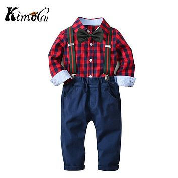 Kimocat Boys Clothing Cotton Plaid Bow Tie Shirt + Suspender Pants 2Pcs Long Sleeve Formal Suit Kids New Year Clothes 18M-6Year