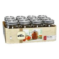 12-Piece Set Regular Mouth 16-Oz/1-Pint Mason Jars 00503