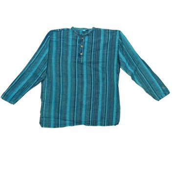 Bohemian Gypsy Chic Aqua Blue Men's Fashion Shirt Short Kurta Trendy Cotton Tunic Traditional Wear L