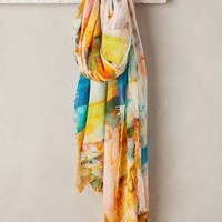 Midsummer Scarf by Anthropologie Blue Motif One Size Scarves