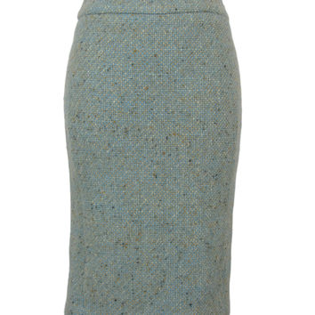 GianFranco Ferre GF FERRE Aqua Boucle Wool Classic Pencil Wiggle Skirt 24