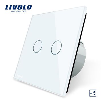 Manufacturer Livolo EU Standard Touch Switch 2 Gang 2 Way Control 3 Color Crystal Glass Panel Wall Light Switch C702S-1 2 3 5