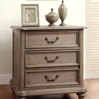 Moline Transitional 3-Drawer Nightstand in Rustic Grey