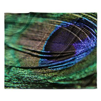 "Angie Turner ""Peacock Feather"" Green Blue Fleece Throw Blanket"