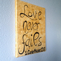 "11"" x 14"" Metallic Gold Textured Bible Verse Canvas Painting Love Never Fails 1 Corinthians 13 8 Room Wall Decor"