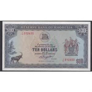 RHODESIA $10 P33 1979 ANTELOPE UNC ANIMAL AFRICA CURRENCY MONEY BILL BANK NOTE